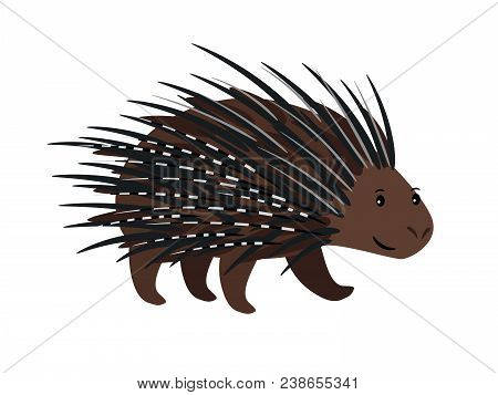 Porcupine Black Spotted Animal Icon Isolated On White Background, Vector Illustration