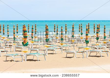 Vieste, Italy, Europe - Sunloungers At The Clean Beach Of Vieste