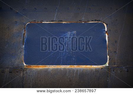 Abstract Detailed Gray Metal Wall Background Texture Of Ship Detail With Seams And Rivets. Closed Ha