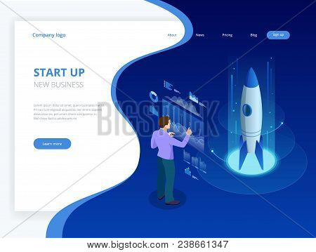 Isometric Businnes Start Up Concept. Income And Success. Vector Business Infographics Illustration.