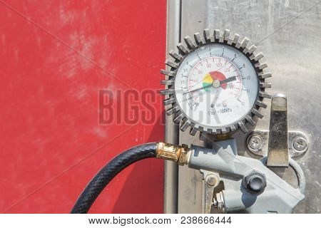 Compressor For Inflating Wheels Close-up Photo With Place For Text