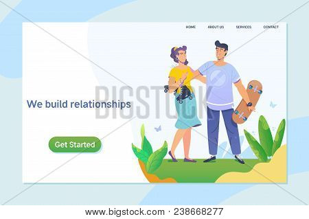 Happy Young Couple Enjoying A Day In The Park. Together. Relationship, Online Dating,social Networki