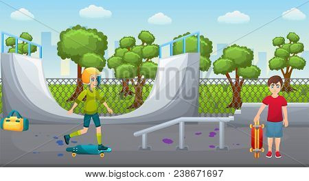 Illustration Of A Skate Park With Roller. Teenager Playing In A Skatepark. Skate Ramp And Roller On