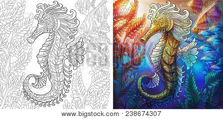Coloring Page Of Seahorse And Shoal Of Fishes. Ocean Underwater Background. Colorless And Color Samp