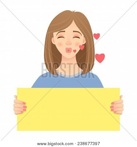 Woman Holding Blank Poster. Blank Message  Illustration. Hands Holding Blank Paper