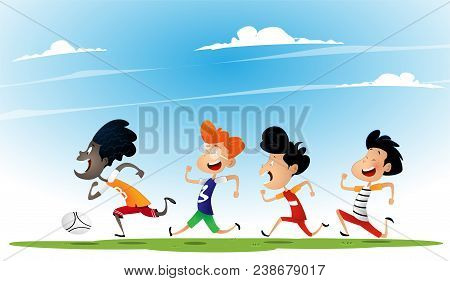 Group Of Multiracial Kids Play Football. Concept Of Multiracialism, Tolerance And Friendship. Vector