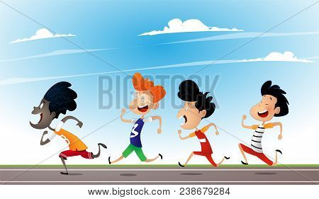 Cartoon Multiracial Children Run On The School Playground. Concept Of Multiracialism, Tolerance And