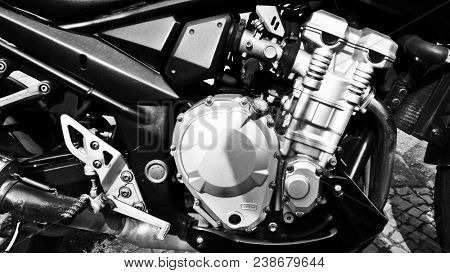 close up of a motorcycle engine block