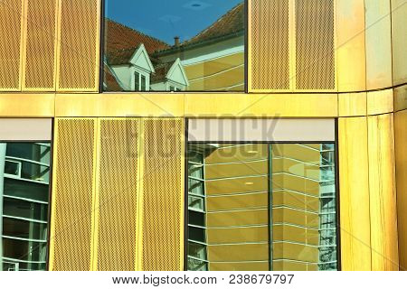 House With Yellow Walls In A Town In Denmark