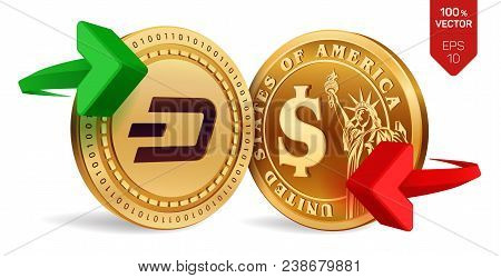 Dash To Dollar Currency Exchange. Dash. Dollar Coin. Cryptocurrency. Golden Coins With Dash And Doll