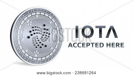 Iota. Accepted Sign Emblem. Crypto Currency. Silver Coin With Iota Symbol Isolated On White Backgrou