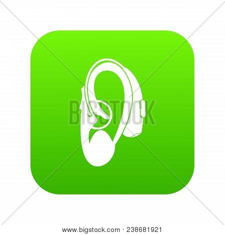 Hearing Aid Icon Digital Green For Any Design Isolated On White Vector Illustration