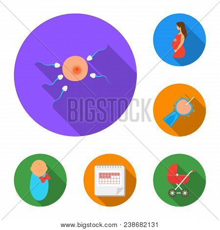 Woman And Pregnancy Flat Icons In Set Collection For Design. Gynecology And Equipment Vector Symbol