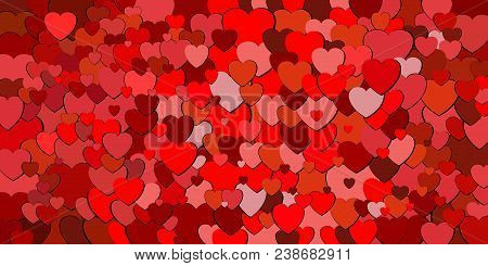 Abstract Background With Red Hearts - Illustration,  Various Shades Of Red Hearts Background