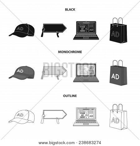 Baseball Cap, Pointer In Hands, Laptop, Shopping Bag.advertising, Set Collection Icons In Black, Mon