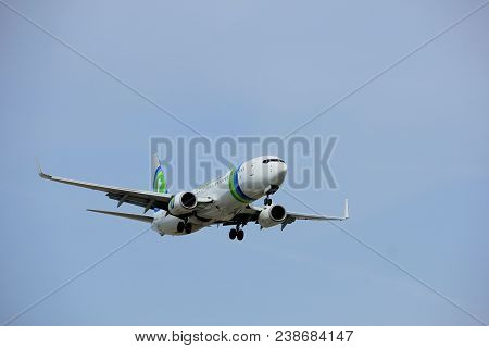 Amsterdam The Netherlands - April, 7th 2018: Ph-hsf Transavia Boeing 737-800 Approaching Schiphol Zw