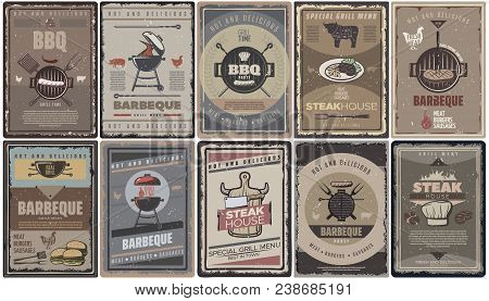 Vintage Colored Barbecue Brochures Collection With Grill Meat Sausages Burgers Bbq Tools And Equipme