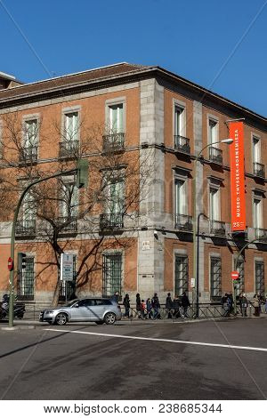 Madrid, Spain - January 22, 2018: Thyssen Bornemisza Museum In City Of Madrid, Spain
