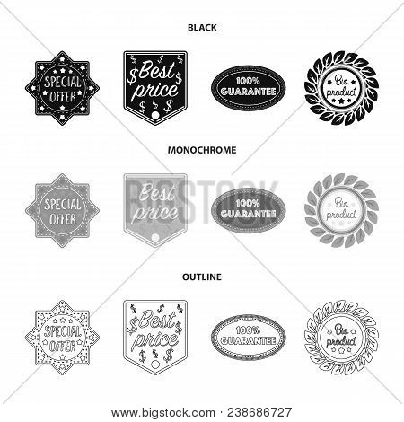 Special Offer, Best Prise, Guarantee, Bio Product.label, Set Collection Icons In Black, Monochrome,