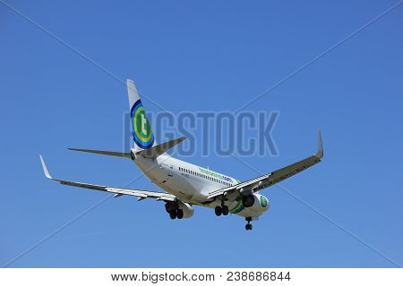 Amsterdam The Netherlands - April, 21st 2018: Ph-xrz Transavia Boeing 737-700  Final Approach To Sch