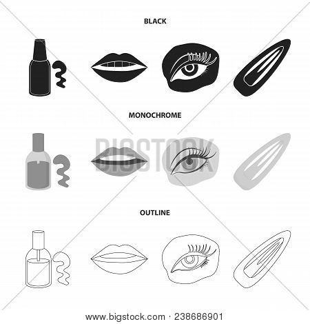 Nail Polish, Tinted Eyelashes, Lips With Lipstick, Hair Clip.makeup Set Collection Icons In Black, M