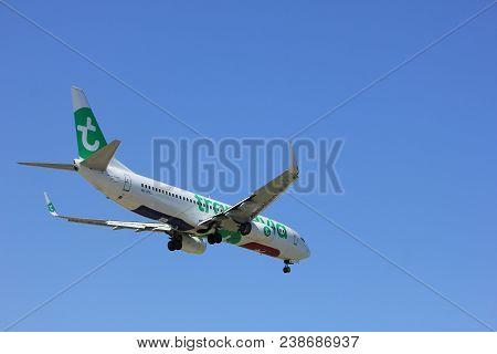 Amsterdam The Netherlands - April, 21st 2018: Ph-hxj Transavia Boeing 737  Final Approach To Schipho