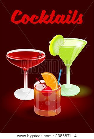 Dark Cherry Abstract Background Poster With Fresh Ice Frozen Alcoholic Cocktails Old Fashioned Manha