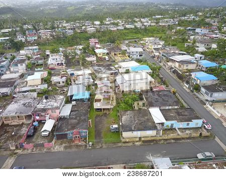 Puerto Rico Aerial 2018 Post Hurricane Disaster Town And Homes