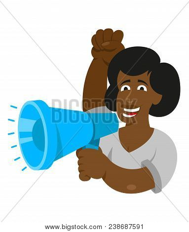 One Black Young Woman Power Feminist Which Keep Megaphone And Shout Take Part In Protest For Freedom