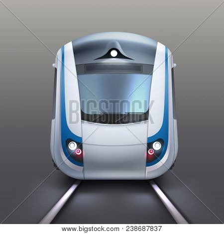 Vector Illustration Of Front Wagon Of An Electric Train Or Subway. Isolated On Gray Background, Fron