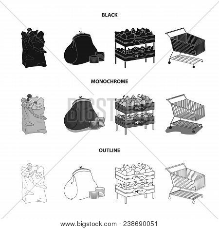 Sausages, Fruit, Cart .supermarket Set Collection Icons In Black, Monochrome, Outline Style Vector S