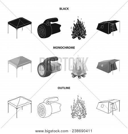 Awning, Fire And Other Tourist Equipment.tent Set Collection Icons In Black, Monochrome, Outline Sty
