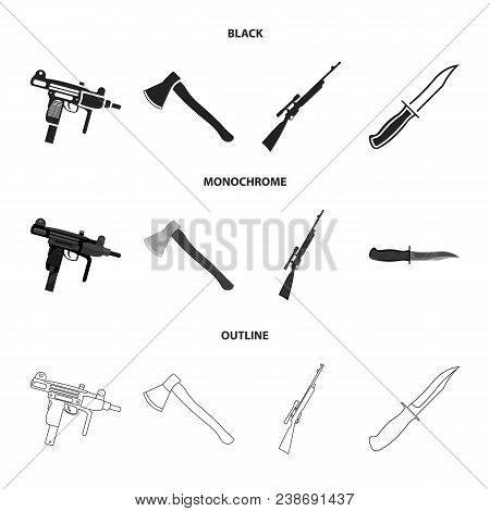Ax, Automatic, Sniper Rifle, Combat Knife. Weapons Set Collection Icons In Black, Monochrome, Outlin