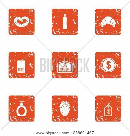Throw Off Price Icons Set. Grunge Set Of 9 Throw Off Price Vector Icons For Web Isolated On White Ba