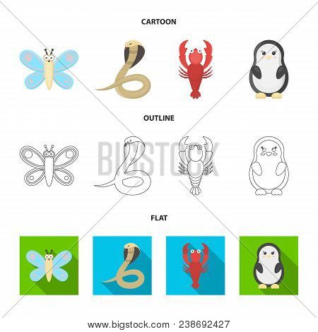 An Unrealistic Cartoon, Outline, Flat Animal Icons In Set Collection For Design. Toy Animals Vector