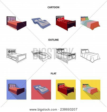 Different Beds Cartoon, Outline, Flat Icons In Set Collection For Design. Furniture For Sleeping Vec