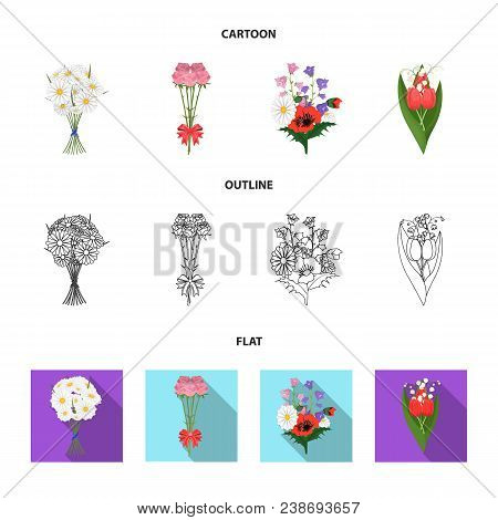 A Bouquet Of Fresh Flowers Cartoon, Outline, Flat Icons In Set Collection For Design. Various Bouque