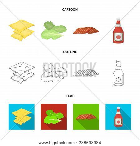 Burger And Ingredients Cartoon, Outline, Flat Icons In Set Collection For Design. Burger Cooking Vec