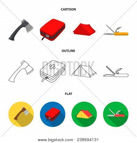 Ax, First-aid Kit, Tourist Tent, Folding Knife. Camping Set Collection Icons In Cartoon, Outline, Fl