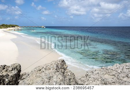 Kayakers On Te Amo Beach In Bonaire, Caribbean