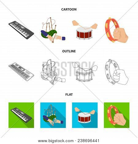 Synthesizer Melodies, Bagpipes Scotch And Other  Icon In Cartoon, Outline, Flat Style. Drum, Drum Ro
