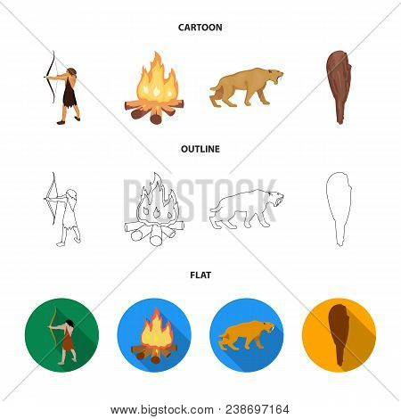 Man, Hunter, Onion, Bonfire .stone Age Set Collection Icons In Cartoon, Outline, Flat Style Vector S