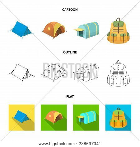 Backpack And Other Kinds Of Tents.tent Set Collection Icons In Cartoon, Outline, Flat Style Vector S
