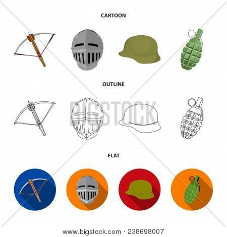 Crossbow, Medieval Helmet, Soldier Helmet, Hand Grenade. Weapons Set Collection Icons In Cartoon, Ou