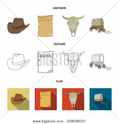 Cowboy Hat, Is Searched, Cart, Bull Skull. Wild West Set Collection Icons In Cartoon, Outline, Flat