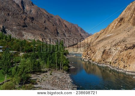 Landscape Of Mountains, River And Forests In Summer At Northern Countryside Area In Pakistan