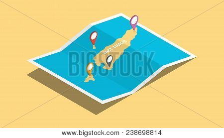 Explore East Timor Maps With Isometric Style And Pin Location Tag On Top Vector Illustration