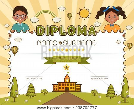 Certificate Kids Diploma, Kindergarten Template Layout Background Frame Design Vector Illustration.