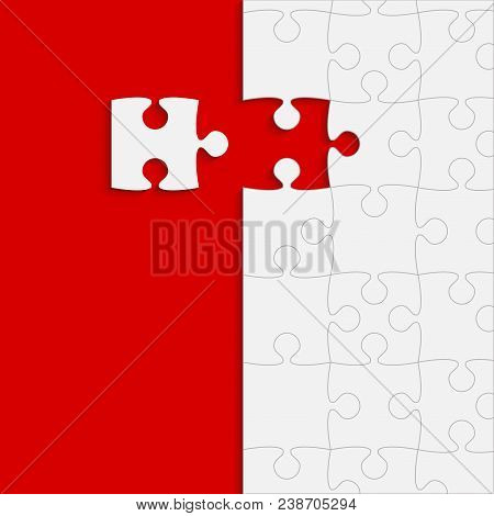 Red Background Puzzle. Jigsaw Puzzle Banner. Vector Illustration Template Shape. Abstract Background