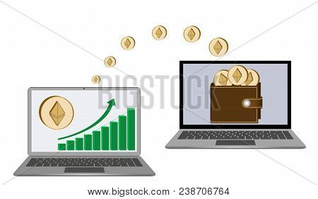 Transfer Ethereum Coins From Laptop In The Wallet In Another Laptop On A White Background,growth Dia